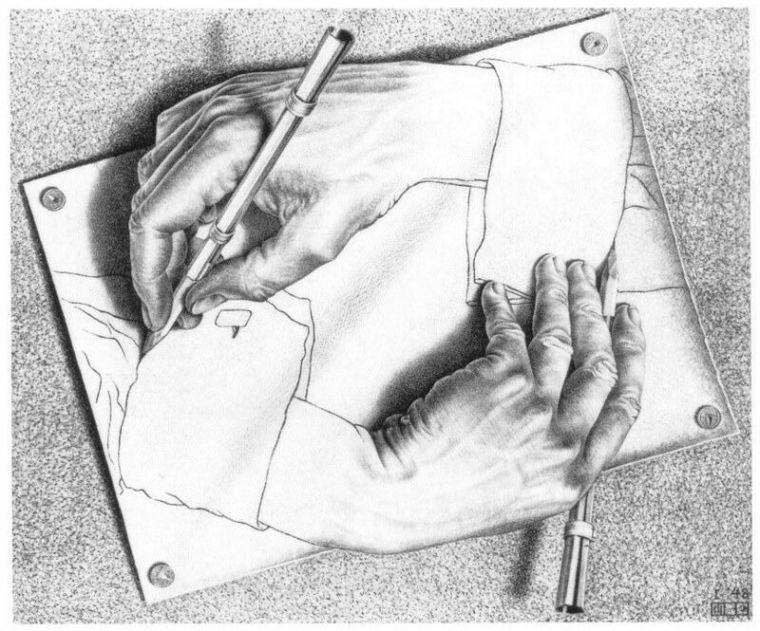 Ilustración: Dibujo de Escher, Manos dibujando, Litografía (1948).