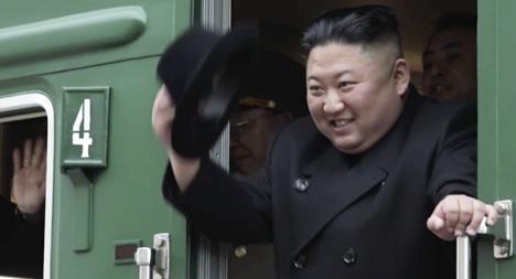 El tren privado del líder supremo de Corea del Norte, Kim Jong-un, estacionado cerca de su residencia en Wonsan