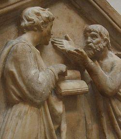 - Platón discutiendo con Aristóteles. Bajorrelieve de Luca della Robbia (Florencia, XV).
