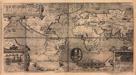 Mapa de 1581 por Nicola van Sype, mostrando la circunnavegación Drake (Christie's).