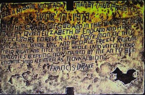 Falsa placa de cobre encontrada en Nueva Albión (Bancroft Library)