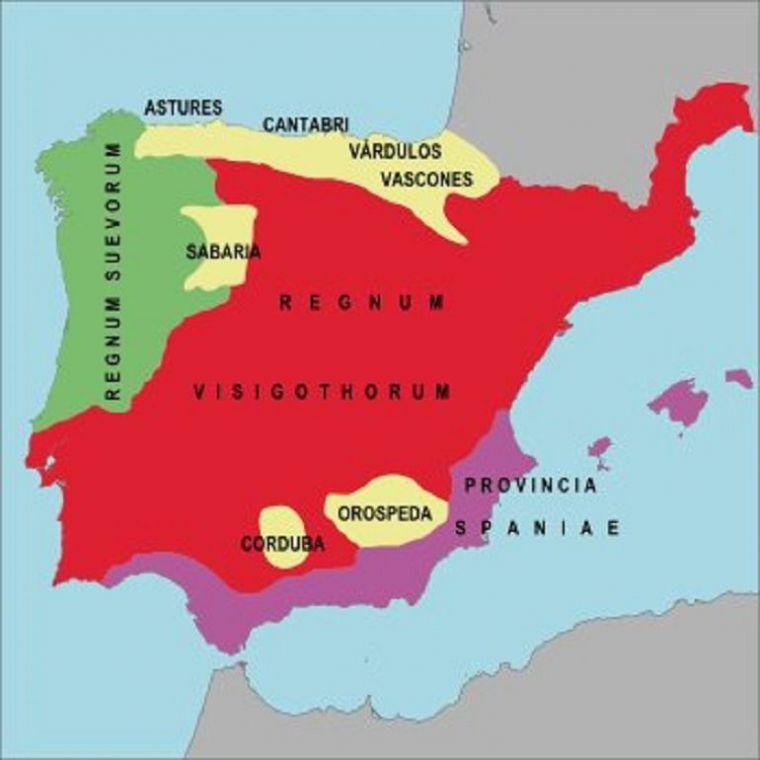 (Ilustración: Hispania en la primera mitad del siglo VI, antes de Leovigildo)