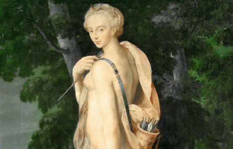 Diana, diosa de la caza, Escuela manierista de Fontainebleau. Se cree que es retrato de Diana de Poitiers, famosa cazadora y amante de Enrique II.