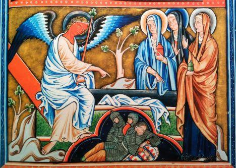 Salterio de Ingeborg, hacia 1195. Es posible que sea obra de monjas cistercienses de Fervaques, norte de Francia. El ángel anuncia la Resurrección de Cristo a tres mujeres, mientras tres soldados duermen en forma de trébol.