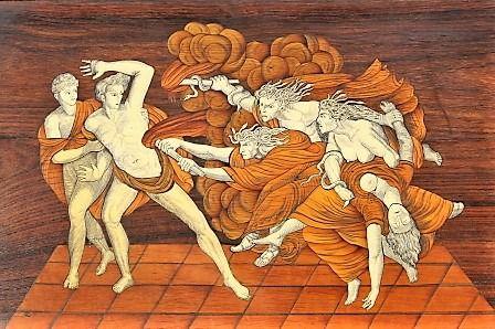-Orestes con su primo y único amigo Pilade, acosado por las Erinias, furias de la venganza. Mesa de abeto con incrustaciones de palisandro, nogal, boj y marfil, siglo XVIII.