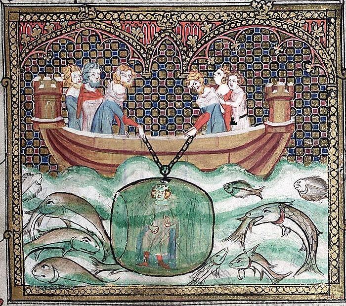 Alejandro desciende a las profundidades marinas en un primitivo submarino. Manuscrito oxoniense iluminado por Jehan de Grise (s XIV).