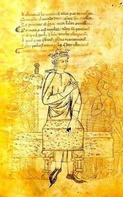 Folio 45v del Manuscrito de Osuna del Libre de Alexandre (s. XIII).