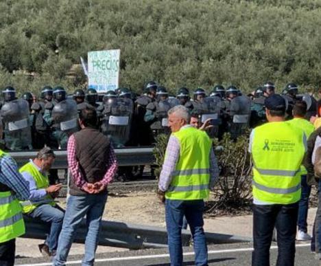 Los antidisturbios recurren a bombas de humo contra los agricultores para desconvocar la tractorada en Lucena