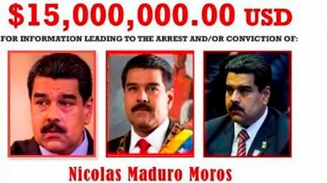 EE UU pone precio a la cabeza de Nicolás maduro y ofrece 15 millones de dólares de recompensa para quien le aporte información con la que capturarlo o le arreste