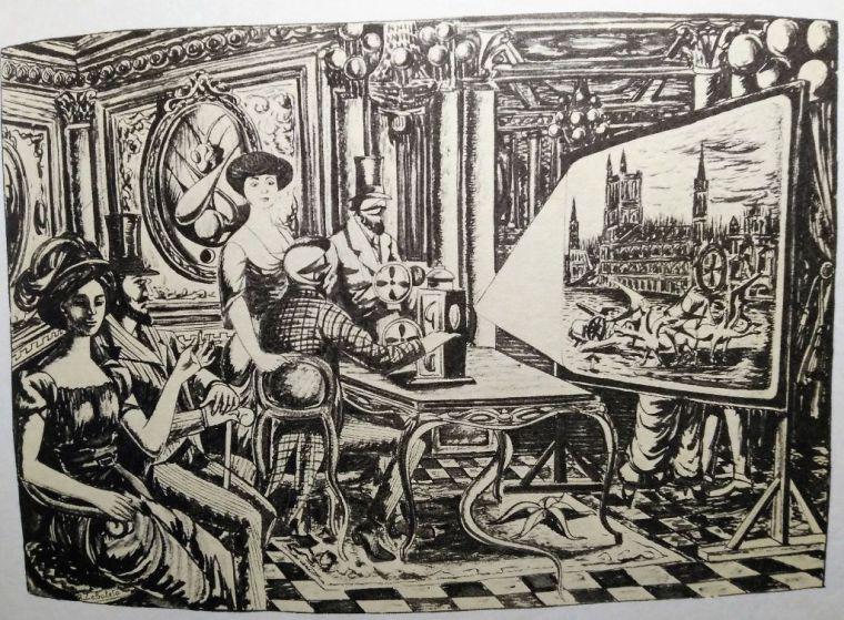 Rafael Zabaleta, 'La máquina de la memoria', ilustración de El Solitario de Camilo J. Cela, 1965.