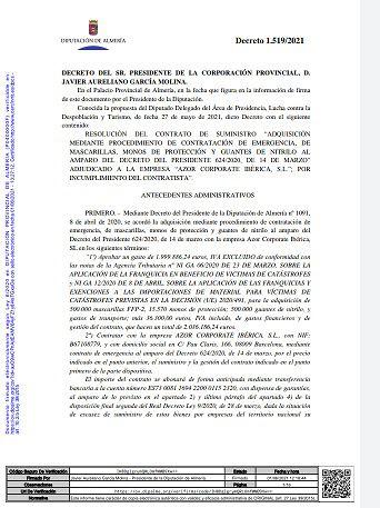 Decreto firmado por vía de emergencia por Javier Aureliano García Molina