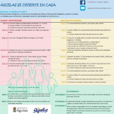 Águilas se divierte en casa: Las Concejalías de Cultura y Participación Ciudadana otorgan una mención especial a José Contreras y Fernando Jiménez