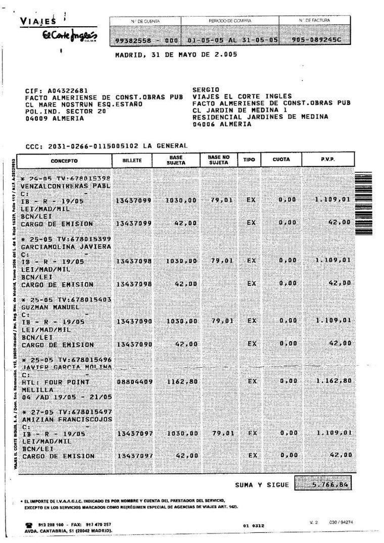 factura pagada por Facto relativa a los viajes a Milaán