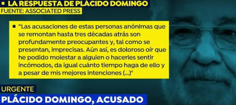 Nueve mujeres acusan a Plácido Domingo de acoso sexual y entre estas la mezzosoprano Patricia, el resto prefieren el anonimato