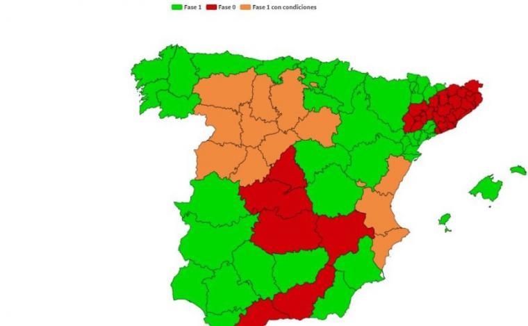 Mapa de las provincias y territorios que desde el próximo lunes pasan a la fase 1
