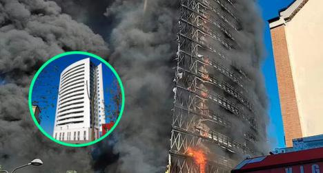 El fuego consume un rascacielos de Milán