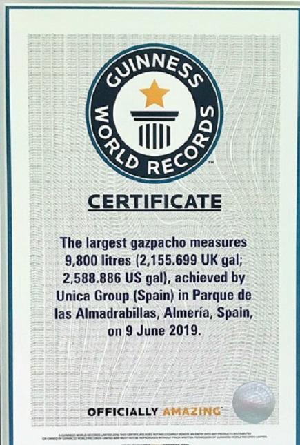UNICA GROUP TIENE YA EL CERTIFICADO GUINNES WORLD RECORDS QUE AVALA, EL HABER FABRICADO, EL GAZPACHO MÁS GRANDE DEL MUNDO