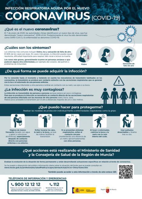 El Ayuntamiento de Puerto Lumbreras hace un llamamiento a la calma y a la prevención ante el coronavirus