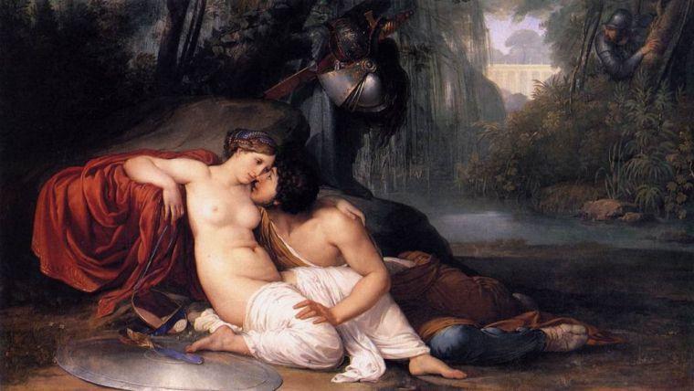 Ilustración de Francesco Hayez: Armida y Reynaldo.