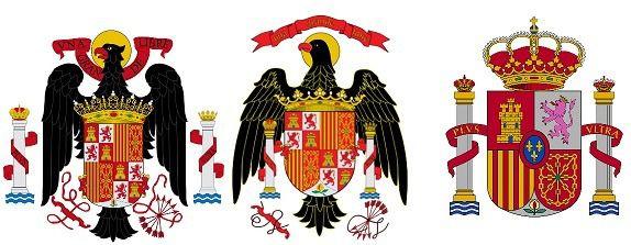 A la izquierda, escudo de España utilizado por el régimen franquista desde 1945 a 1977. En el centro, escudo utilizado desde 1977 a 1981. A la derecha, escudo actual, establecido por Ley 39/1981, de 28 de octubre.