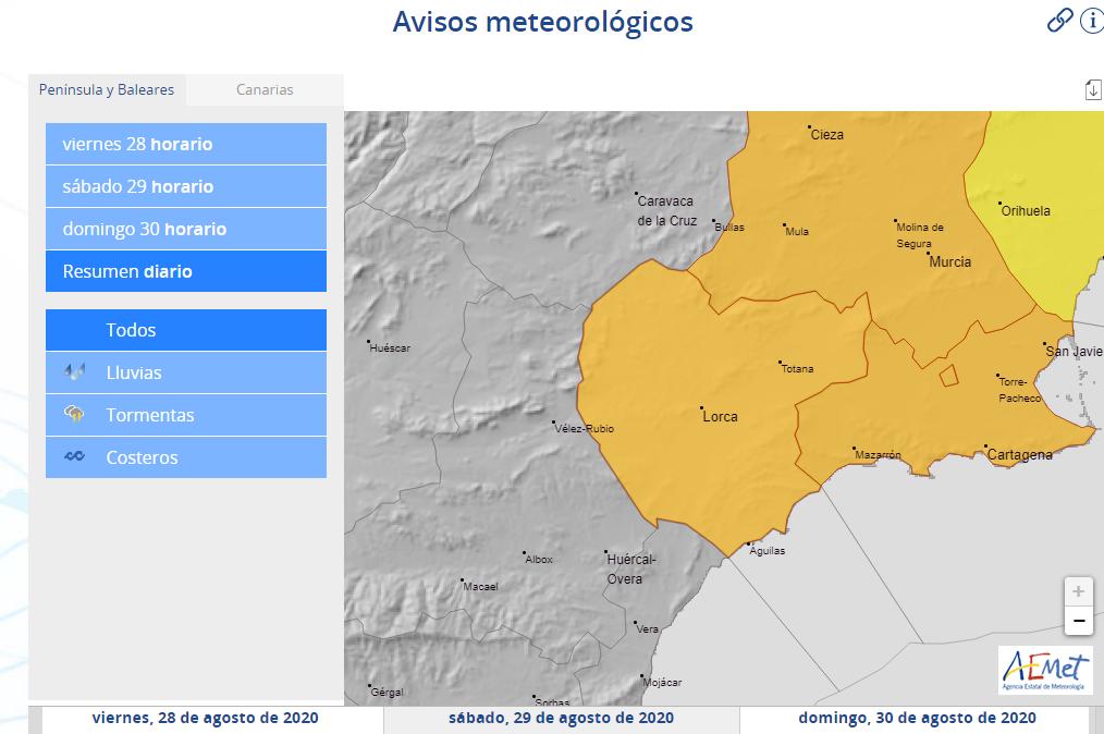 La Agencia Estatal de Meteorología activa para este sábado en Lorca aviso naranja por tormentas y amarillo por precipitaciones