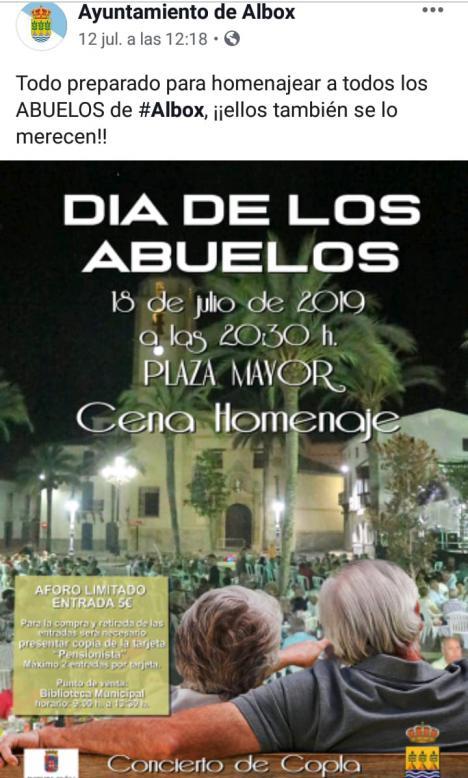 """El PSOE de Albox denuncia que Torrecillas """"manipula a los abuelos"""" y convoca una """"Cena Homenaje el 18 de julio día del golpe de estado de Franco"""""""