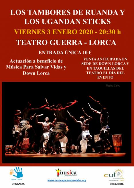 """""""Los tambores de Uganda"""" y """"Los Uganda Sticks"""" actuarán este viernes, 3 de Enero, en el Teatro Guerra de Lorca, a favor de los colectivos 'Down Lorca' y 'Música Para Salvar Vidas'"""