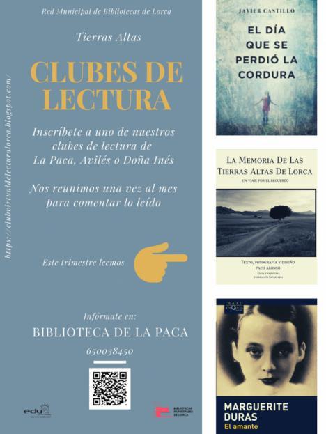 La Red de Bibliotecas Municipales de Lorca anima a los amantes de los libros a unirse a los Clubes de Lectura de las pedanías altas de La Paca, Avilés y Doña Inés