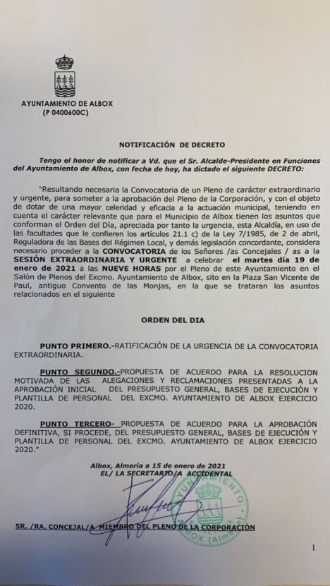 Cuando Albox está a 1846,7 de incidencia, confinado 15 días por la Junta de Andalucía y el propio Alcalde con un Bando cierra el Ayuntamiento, el PSOE denuncia una nueva ilegalidad y atentado contra la salud de Torrecillas que convoca Pleno para el martes.