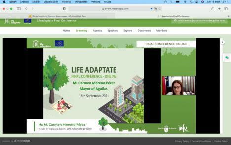 La primera edil aguileña, ponente en la conferencia final del proyecto Life Adaptate