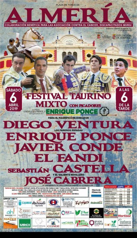 Festival taurino en Almería con el Fandi, Diego Ventura, Enrique Ponce, Castella, Javier Conde y el novillero almeriense José Cabrera