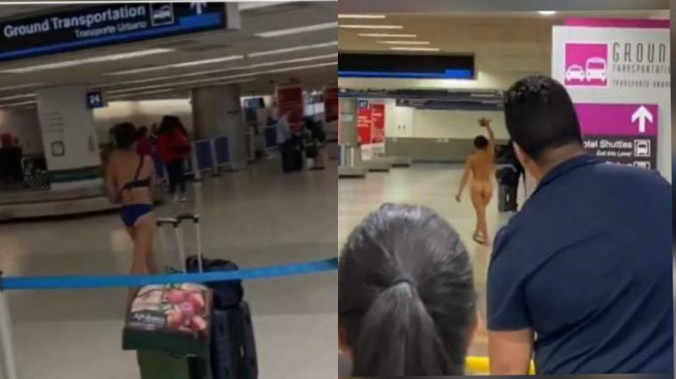 Una mujer se desnuda en el Aeropuerto Internacional de Miami y luego se sube al techo de un automovil