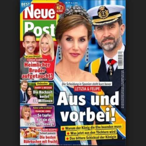 El conflicto continúa en el Palacio de la Zarzuela, hoy un diario alemán asegura que el divorcio entre Leticia y Felipe es inminente