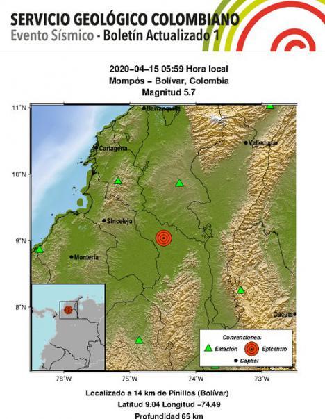 Terremoto de 5,7 grados en Colombia