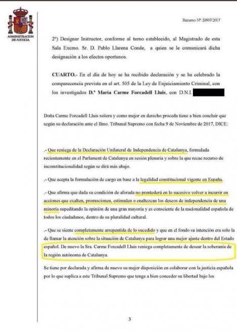 La traición de Carme Forcadell al independentismo.