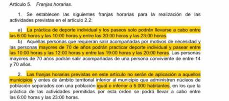 El PP informa que, según lo publicado en el BOE, los vecinos de todas las pedanías lorquinas están EXENTOS de cumplir las restricciones de franjas horarias para las salidas en sus núcleos de población