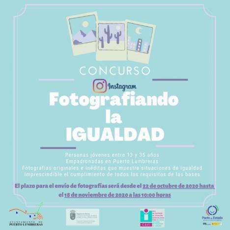 """El Ayuntamiento de Puerto Lumbreras convoca el concurso """"Fotografiando la igualdad"""" dirigido a sensibilizar a los jóvenes en igualdad de género"""