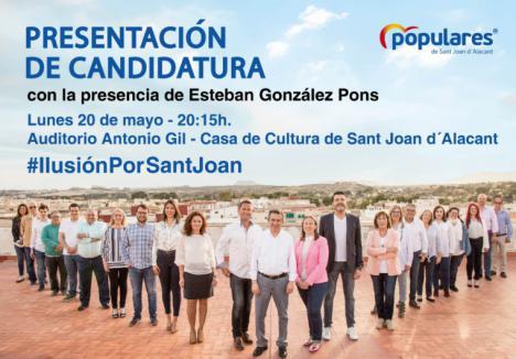 El Partido Popular de San Joan presenta a sus candidatos