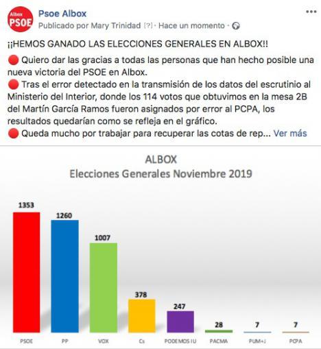 Un error garrafal en la trasmisión de los resultados oficiales de Albox da vencedor al PP cuando el ganador ha sido el PSOE