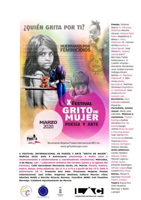 """El décimo Festival Internacional de Poesía y Arte """"Grito de Mujer""""-Murcia 2020, que se celebra este miércoles día 4, será dedicado al fallecido Poeta aguileño Pedro Vera y se reconocerá también a los colaboradores y coordinadores voluntarios"""