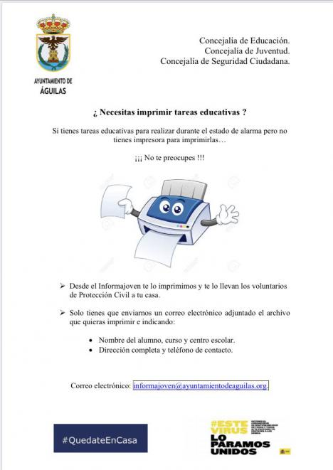 El Ayuntamiento pone en marcha un servicio de impresión y reparto de tareas educativas para estudiantes sin recursos