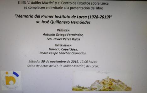 """Jornada de puertas abiertas, el sábado, 30 de noviembre, en el Instituto de Educación Secundaria """"J. Ibáñez Martín"""" de Lorca"""