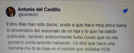 El padre de Marta del Castillo deja Vox al sentirse engañado y utilizado