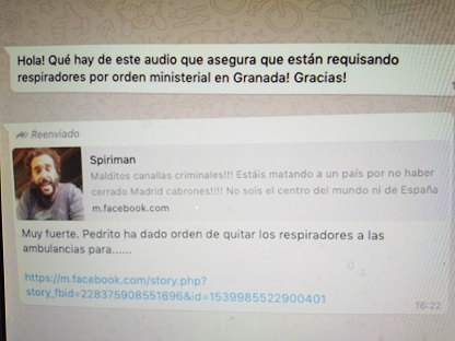 No se han requisado respiradores en Granada por una orden del Ministerio de Sanidad para llevarlos a Madrid como dijo Spiriman