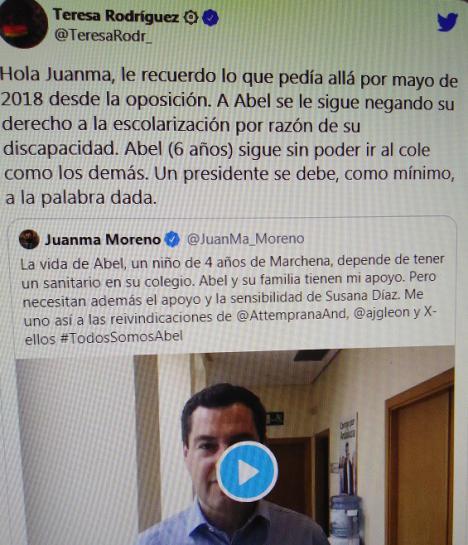 Teresa Rodriguez le saca los colores al presidente andaluz, recordándole que solicitó la ayuda para un niño discapacitado del que ahora reniega