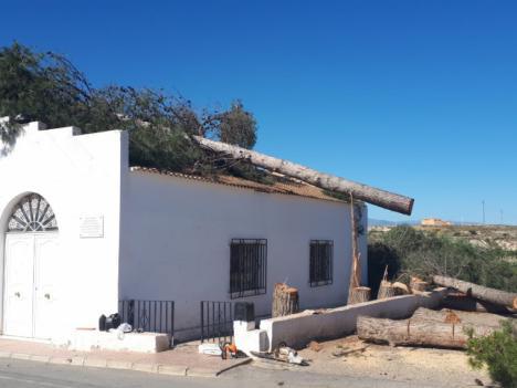 Torrecillas y Campoy, alcalde y teniente de alcalde de Albox, provocan daños en la Iglesia de la Aljambra al caer sobre esta unos arboles que cortaban