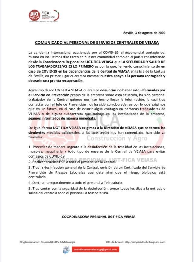 RESPUESTA DE UGT-FICA AL CASO DEL COVID-19 EN VEIASA CENTRAL DE SEVILLA
