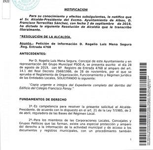 """Es """"impresentable"""" que Torrecillas nos diga que se entregara la información del derribo del Colegio Fenoy en noviembre dos meses y medio después de tirarlo, denuncia el PSOE de Albox"""