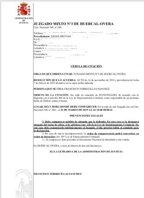 El Juez comunica a Torrecillas que podrá ORDENAR SU DETENCION en caso de una nueva incomparecencia