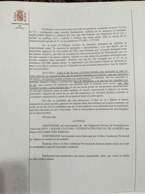 La relación intima del Alcalde de Albox provoca un Auto de abstención por parentesco del Juez nº 3 de Huercal Overa